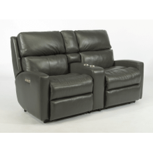 Catalina Leather Reclining Console Loveseat