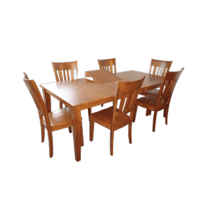 Rectangular Extension Solid Wood  Table with Butterfly Leaf and  Solid Wood Chairs