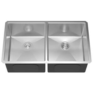 KRAUS 33 INCH UNDERMOUNT 50/50 DOUBLE BOWL 16 GAUGE STAINLESS STEEL KITCHEN SINK WITH NOISEDEFENDSOUNDPROOFING