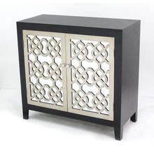Mirrored Dicut Black & Silver Cabinet