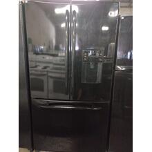 Black GE French Door Refrigerator (This may be a Stock Photo, actual unit (s) appearance may contain cosmetic blemishes. Please call store if you would like additional pictures). This unit carries our 6 Month warranty, MANUFACTURER WARRANTY and REBATE NOT VALID with this item. ISI 37409 B