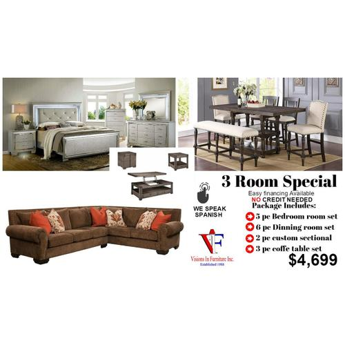 3 room Includes, queen bed, nightstand, dresser mirror, chest, sofa & loveseat, 3pc coffee table set,  table and four chairs & bench