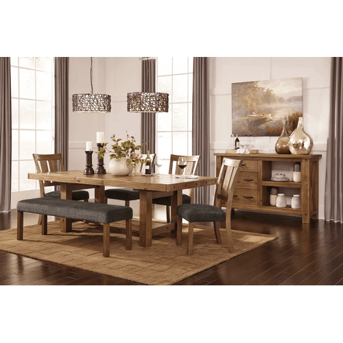 Tamilo - Gray/Brown - 6 Pc. - Rectangular ExtensionT Table, 4 Upholstered Side Chairs & Large Upholstered Bench