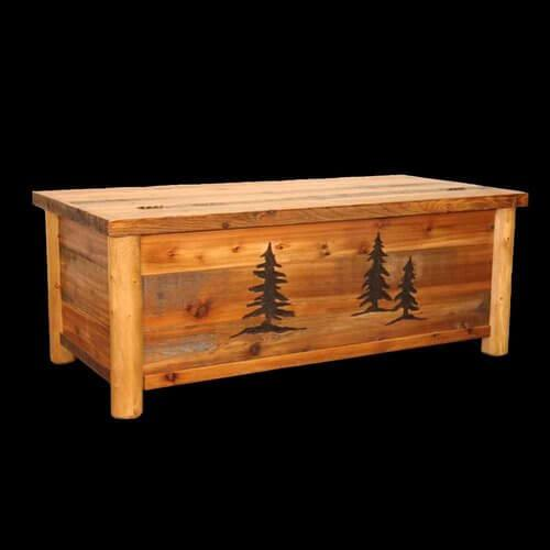 Barnwood Chest With Pine Tree Engraving