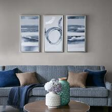 Grey Surrounding Printed Frame Canvas With Gel Coat And Silver Foil 3 Piece Set