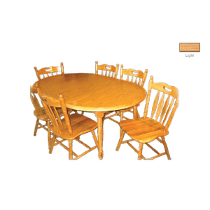 Laminate Top Round Wood Edge  Extension Table with 2 Leafs and  Solid Oak Chairs