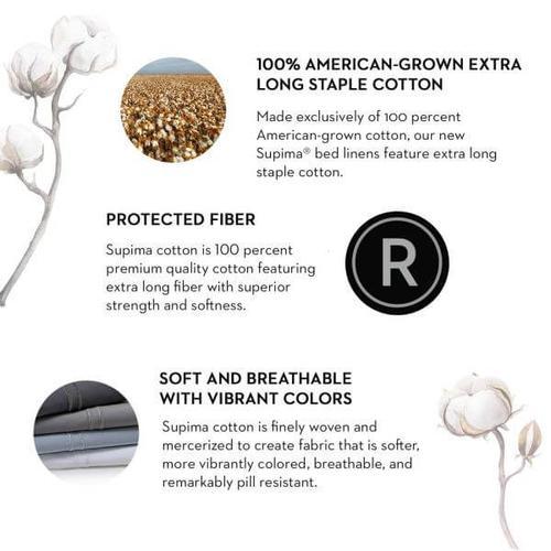 Woven Supima Cotton Sheet Set, Split King, Charcoal