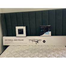 Malouf Headboard, 600 TC Sheet Set, Mattress Protector and rails