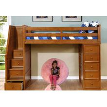 Multi-Purpose Loft - Twin Loft Bed - Rustic Pecan with Pink Lazy Bag