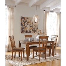 Berringer - Rustic Brown - 5 Pc. - Rectangular Table & 4 Upholstered Side Chairs
