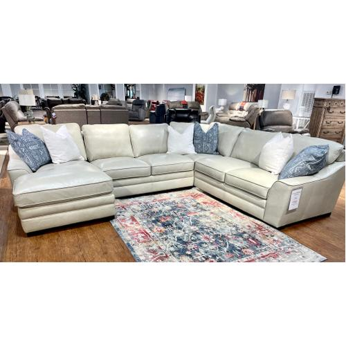 Simon Li Furniture - Leather Sectional w/ Chaise in Stallion Ivory