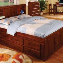 See Details - Merlot Full Bookcase Captains Bed