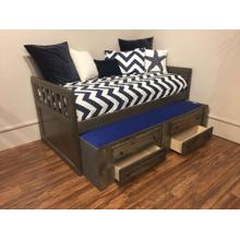 "Twin Captains Bed W"" Trundle & Drawers Rustic Grey"