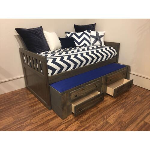 """Twin Captains Bed W"""" Trundle & Drawers Rustic Grey"""
