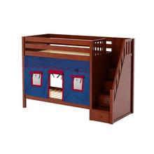 High Bunk Bed with Staircase on End & Curtain in Chestnut finish