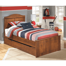 Barchan- Medium Brown- Twin Panel Bed with Trundle Bed