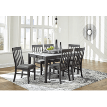 Luvoni - White/Dark Charcoal Gray - 7 Pc. - Rectangular Table & 6 Upholstered Side Chairs