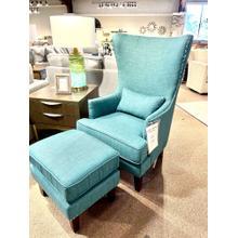 See Details - Heirloom Aqua Chair & Ottoman