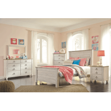 Willowton- Whitewash- Dresser, Mirror, Chest, Nightstand, Full Panel Bed