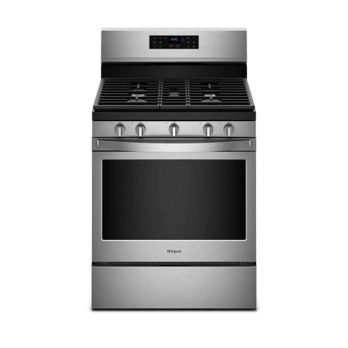 "Whirlpool 5.0CF Fingerprint Resistant Stainless Steel 30"" Freestanding Convection Gas Range with Self Clean"