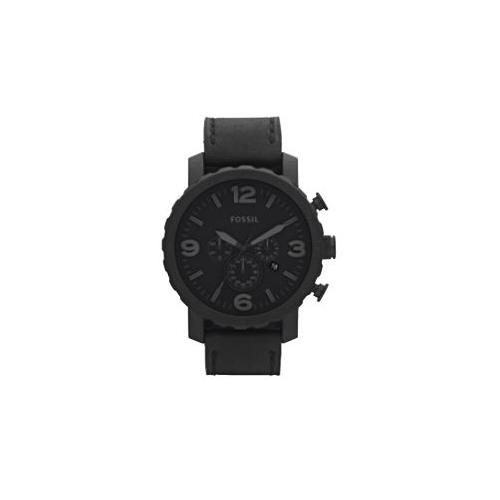 FOSSIL MENS NATE BLACK LEATHER STRAP WATCH