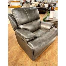 See Details - Juno Flint Leather Power Recliner