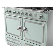 View Product - CornuFe 110 Induction Range - Suzanne Kazler Couleurs - Tapestry with Stainless Steel and Polished Chrome Trim