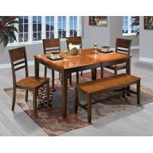 Latitudes Ginger Dining Table   Bench and 4 Chairs