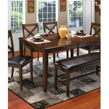Latitudes Chestnut Dining Table Bench and 4 Chairs