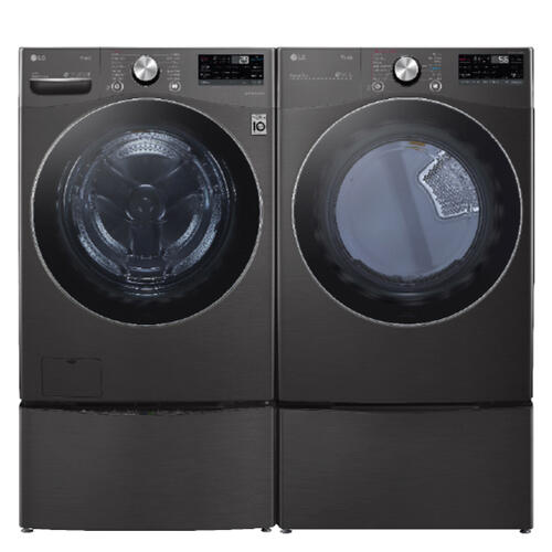 LG Mega Capacity Smart wi-fi Enabled 5.0 cu. ft. Front Load Washer & 7.4 cu. ft. Electric Dryer w/ Pedestals- Black Steel