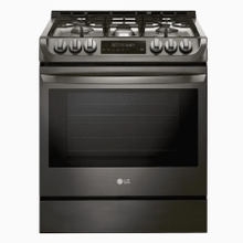 LG 5-Burner 6.3-cu ft Self-cleaning Slide-In True Convection Gas Range (Black Stainless Steel)