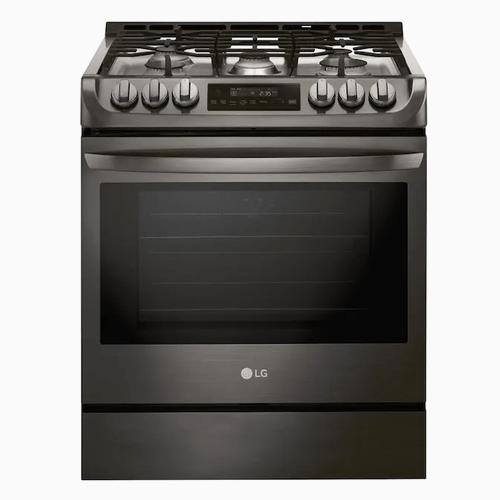 LG 5-Burner 6.3-cu ft Self-cleaning Slide-In True Convection Gas Range (Black Stainless Steel)