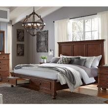 King Storage Panel Bed Complete Oxford Whiskey Brown