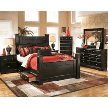 Shay- Almost Black- Dresser, Mirror, Chest, Nightstand & Queen Poster Storage Bed