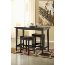 Kimonte - Dark Brown - 3 Pc. - Rectangular Counter Table & 2 Brown Barstools