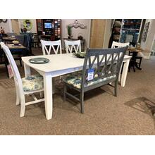 Rectangular Dining Set with Double X-Back Chairs & Matching Bench