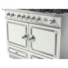 CornuFe 110 Dual Fuel Range -  Pure White with Stainless Steel and Satin Chrome Trim