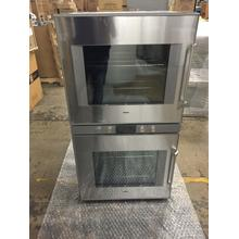 """400 double oven BX 481 611 Stainless steel-backed full glass door Width 30"""" (76 cm) Left-hinged Controls centered"""
