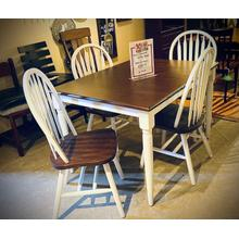 Solid Hardwood Butterfly Leaf Table W/ 4 Chairs in White & Chestnut       (WC3660BFDT)