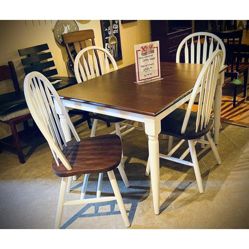 Amesbury Chair - Solid Hardwood Butterfly Leaf Table W/ 4 Chairs in White & Chestnut       (WC3660BFDT)