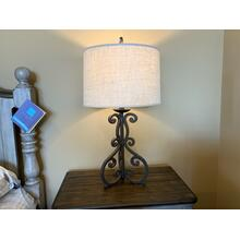 Iron Scroll Table Lamp with Linen Drum Shade