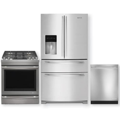 JENNAIR Stainless Steel 26.2 Cu.Ft. French Door Refrigerator & Gas Range 3pc Kitchen Package
