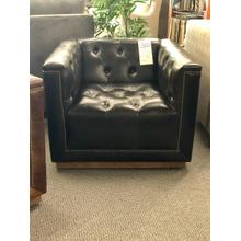 Softline 100% Leather Swivel Chair in Dark Grey