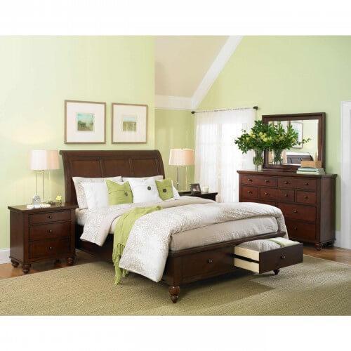 CAMBRIDGE Queen Sleigh Bed w/Storage