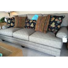 Smith Brothers gray sofa with gray and multi color accent pillows