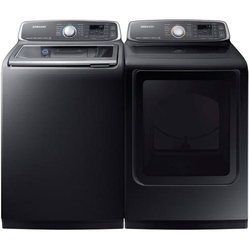 5.2 Cu. Ft. Top Load Washer & 7.4 Cu. Ft. Electric Dryer - Black Stainless Steel