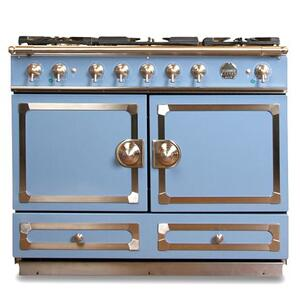 "CornuFe 110 cm Dual-Fuel Range (43"")- Provence Blue w/ Satin Chrome Trim"