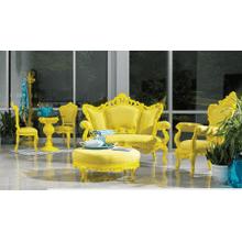 Soliel Yellow Round Ottoman