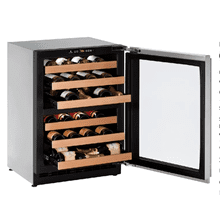 "U-Line U2224ZWCS00B   2224zwc 24"" Dual-zone Wine Refrigerator With Stainless Frame Finish and Field Reversible Door Swing (115 V/60 Hz Volts /60 Hz Hz)"