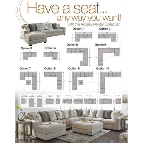 Ardsley - Pewter - 3-Piece Sectional with Left Facing Chaise